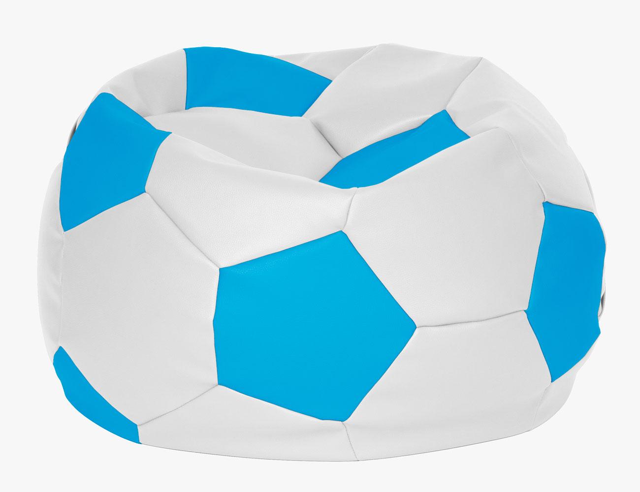 Puff pelota futbol blanco azul