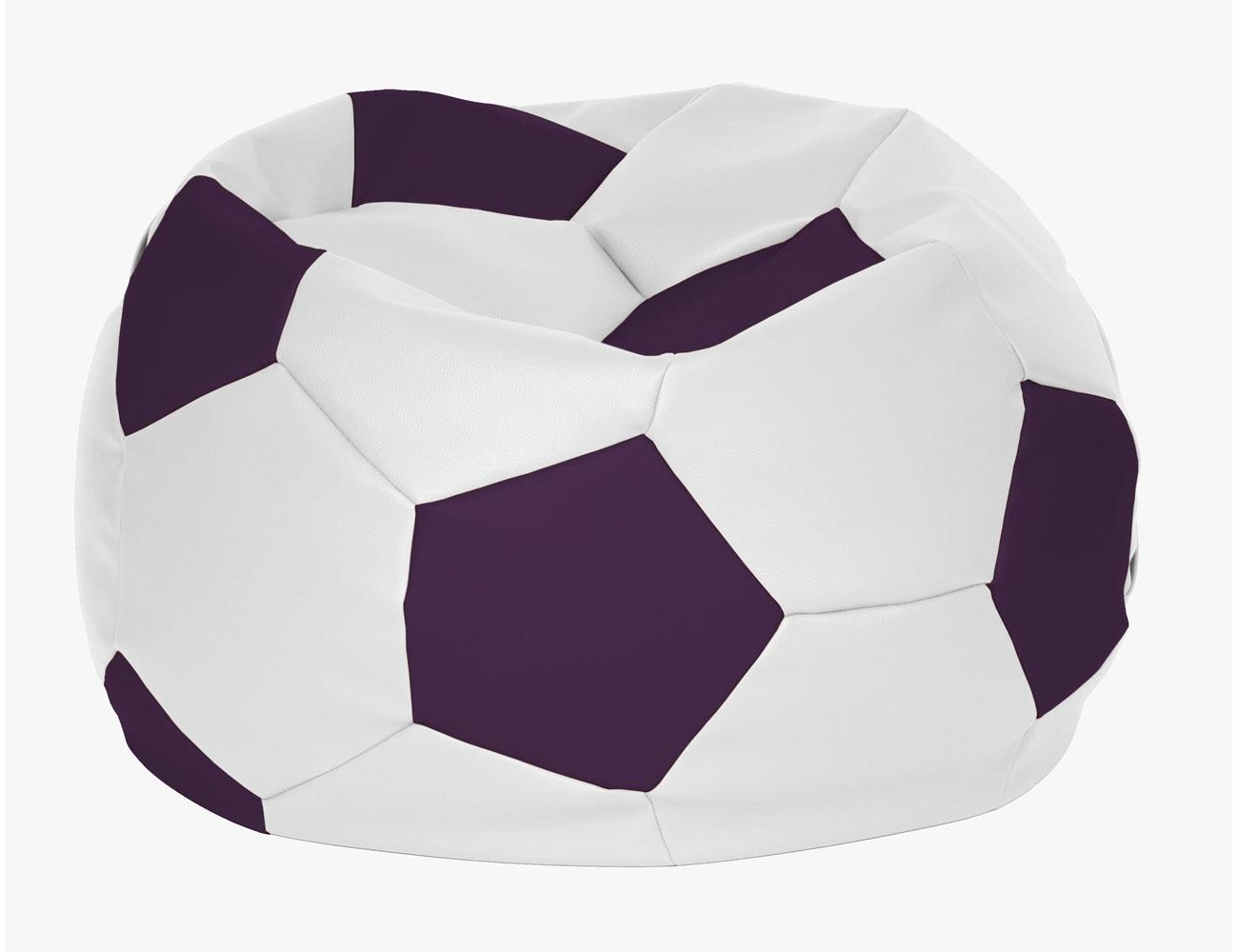 Puff pelota futbol blanco morado