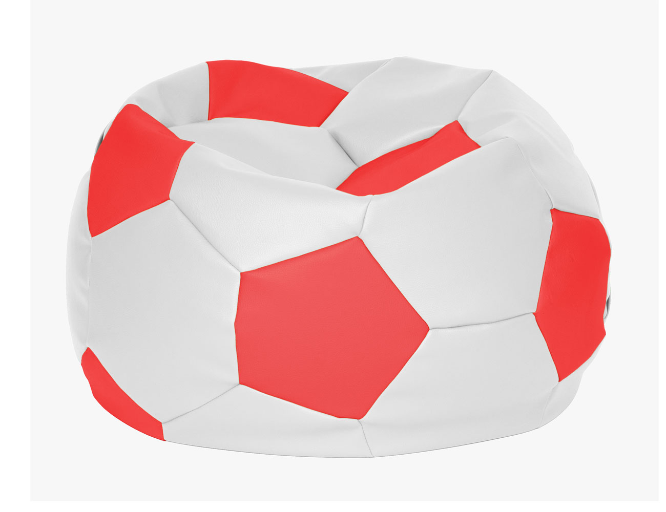 Puff pelota futbol roja blanca