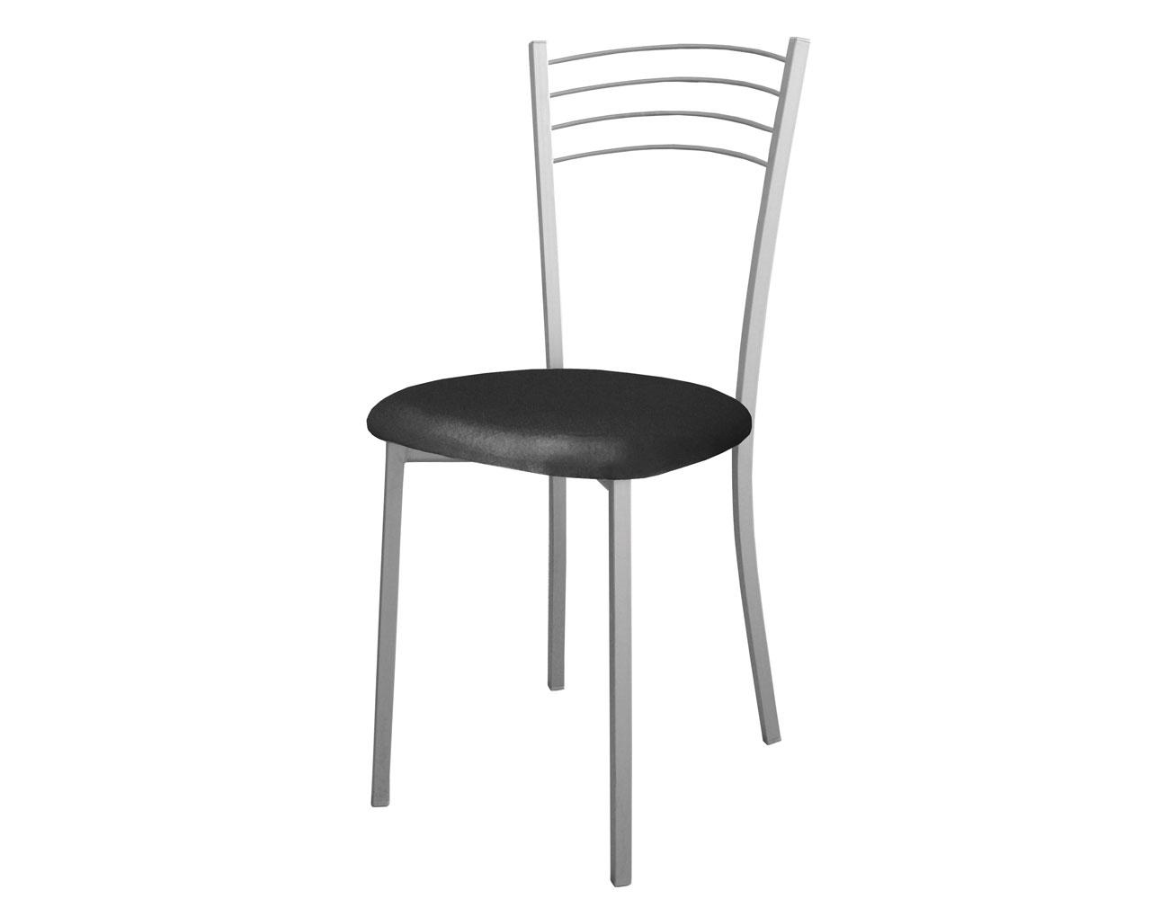 Silla de cocina con respaldo medio y asiento en polipiel for Sillas cocina negras