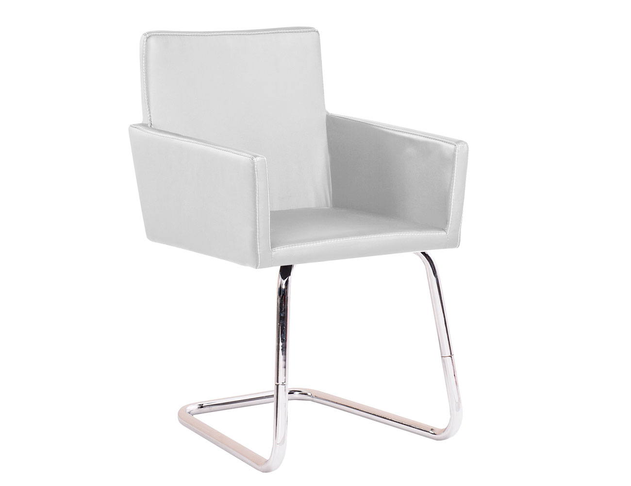 Silla confidente polipiel brazo blanco