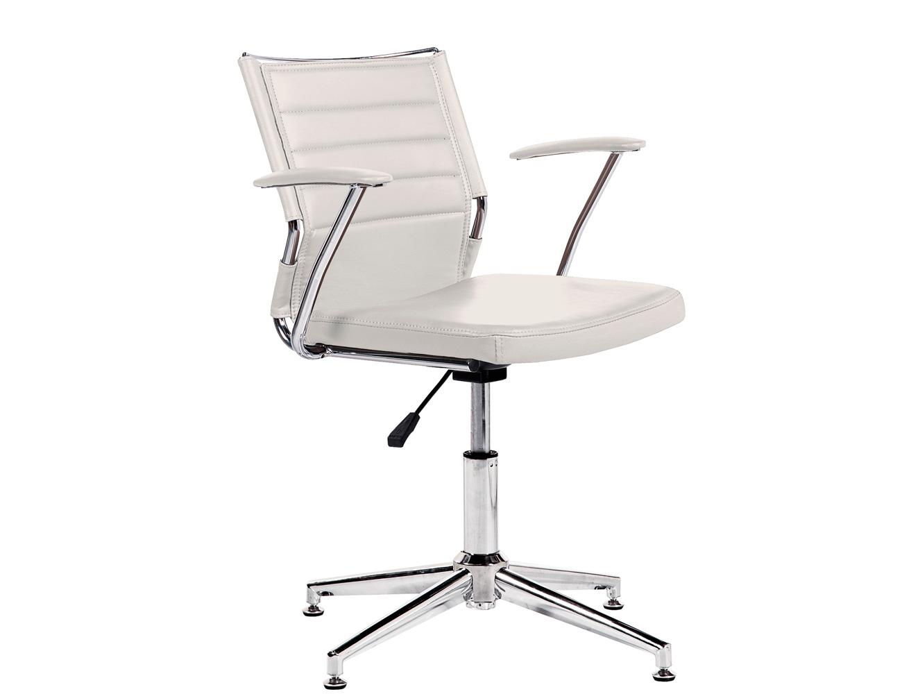 Silla oficina despacho regulable altura apoya brazos polipiel blanco