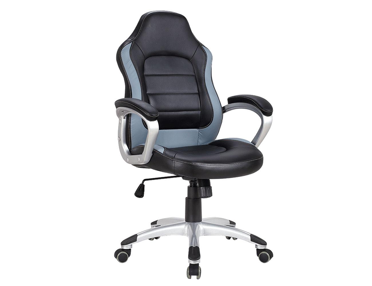 Silla oficina ergonomica polipiel brazos ruedas gris1