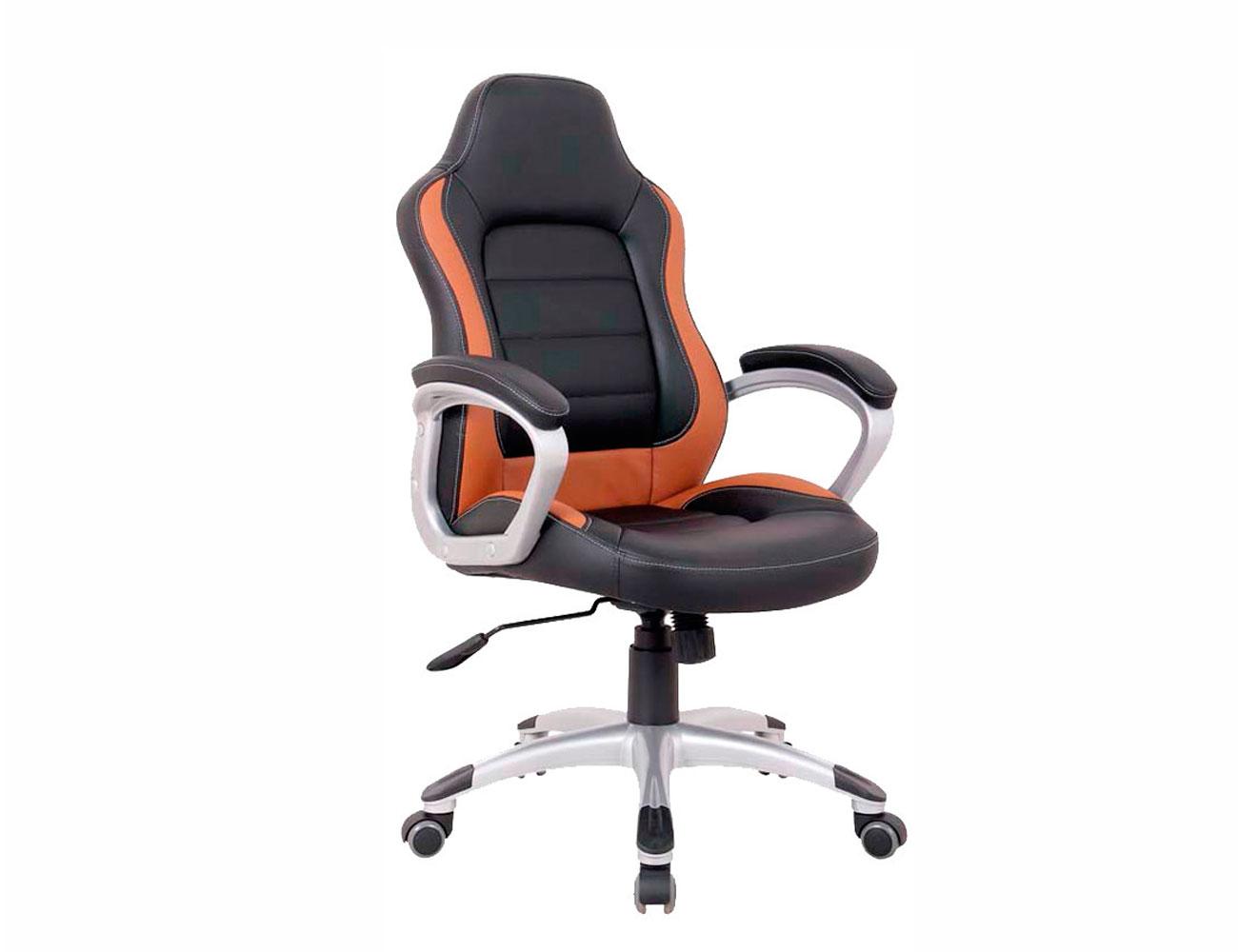 Silla oficina ergonomica polipiel brazos ruedas marron1