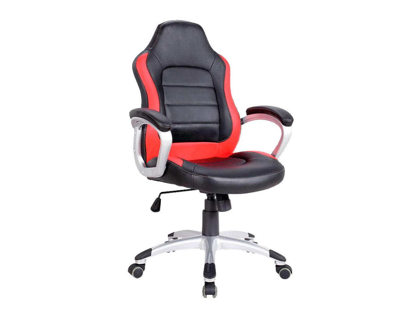 Silla oficina ergonomica polipiel brazos ruedas roja1