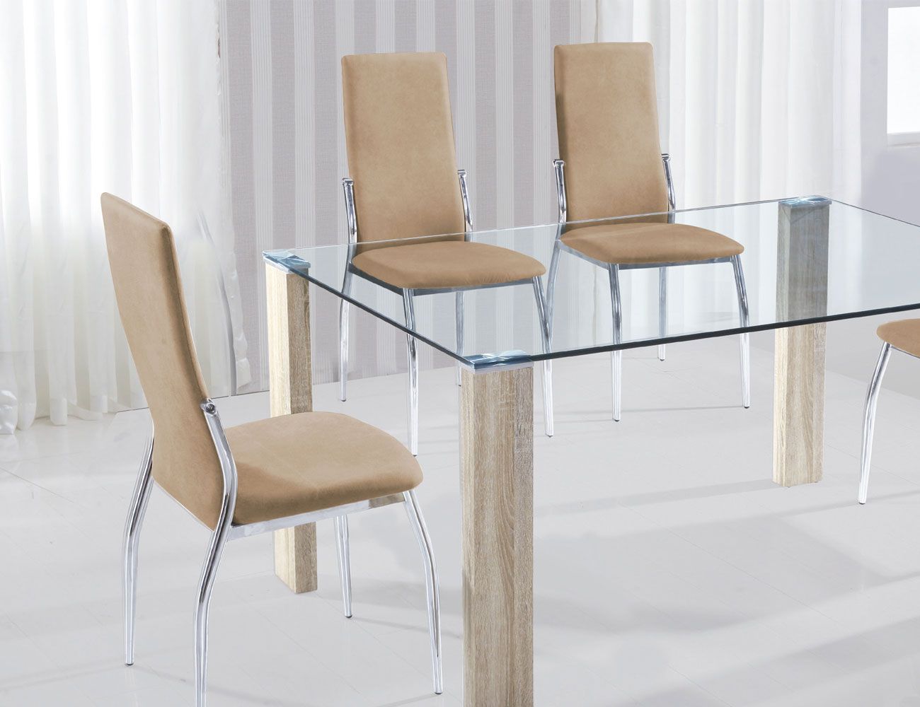 Conjunto de 4 sillas tapizadas tela jarama color beige y for Sillas cromadas