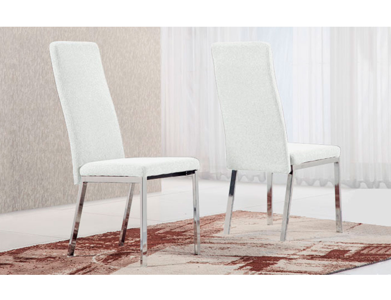 Silla tapizada cromada polipiel blanco