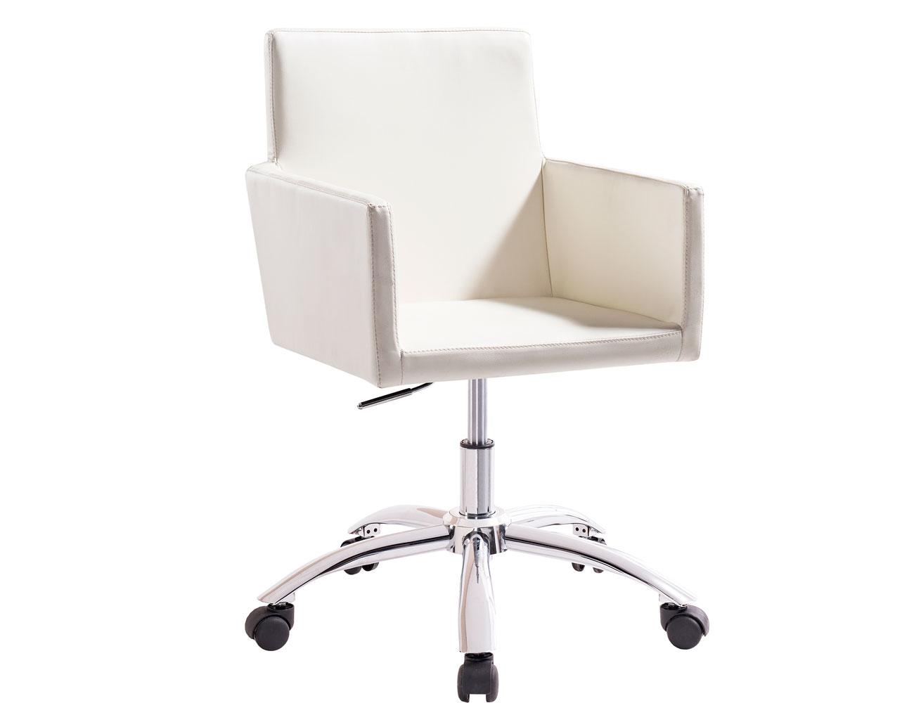 Sillon oficina despacho regulable altura ruedas polipiel blanco