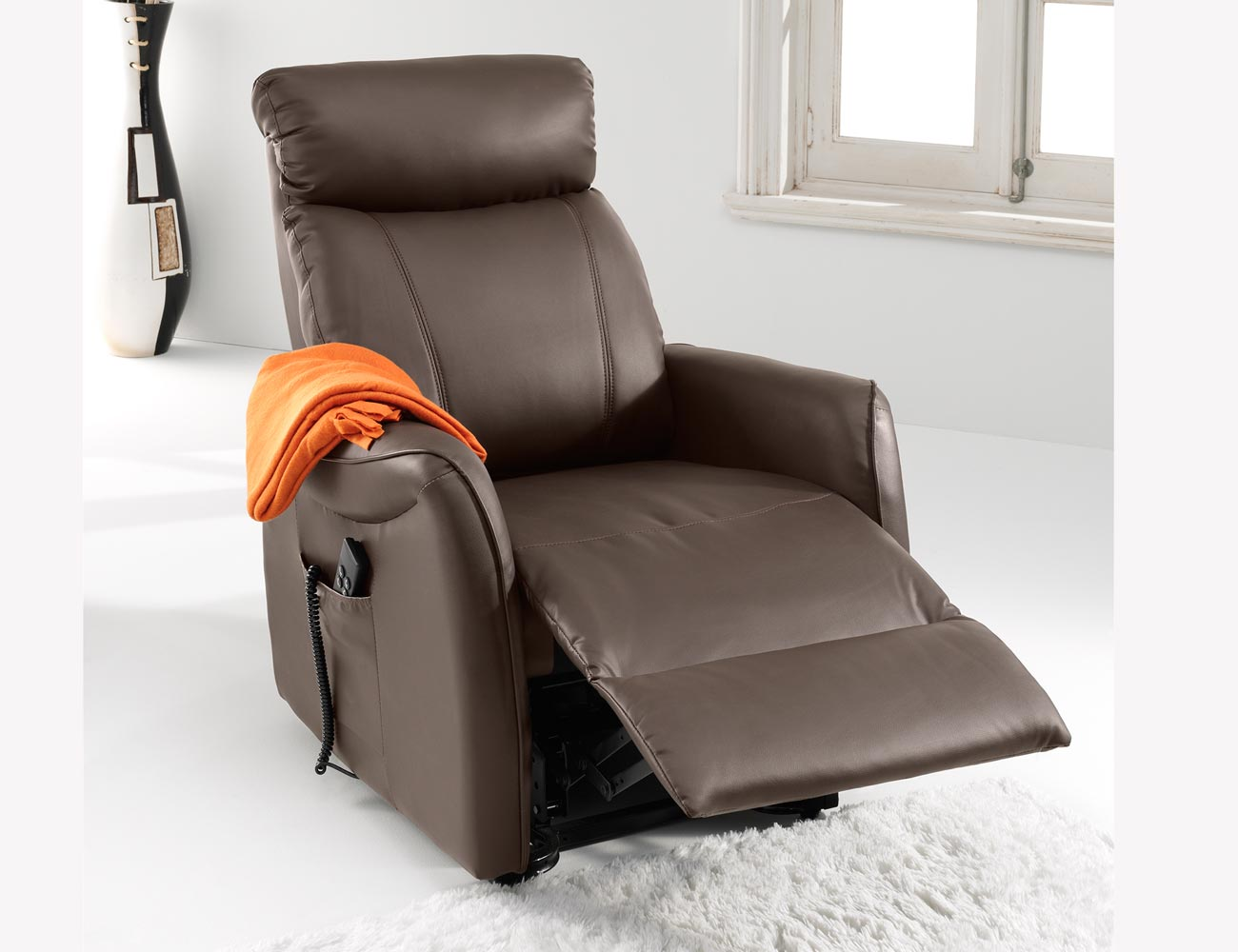Sillon relax dos motores power lift levanta personas simil piel