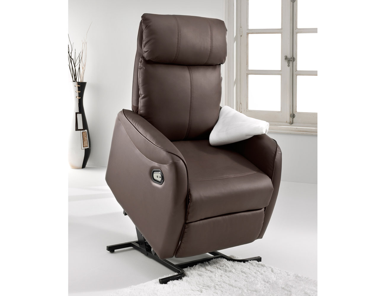 Sillon relax levanta personas power lift simil piel choco 3