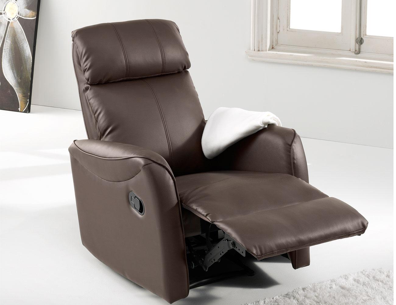 Sill n relax con palanca pared cero en simil piel 2209 for Sillon relax lectura