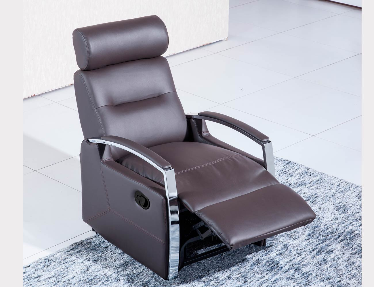 Sillon relax palanca simil piel chocolate 21