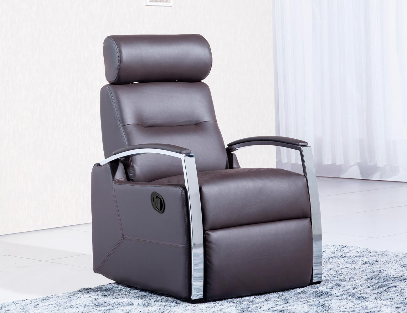Sillon relax palanca simil piel chocolate