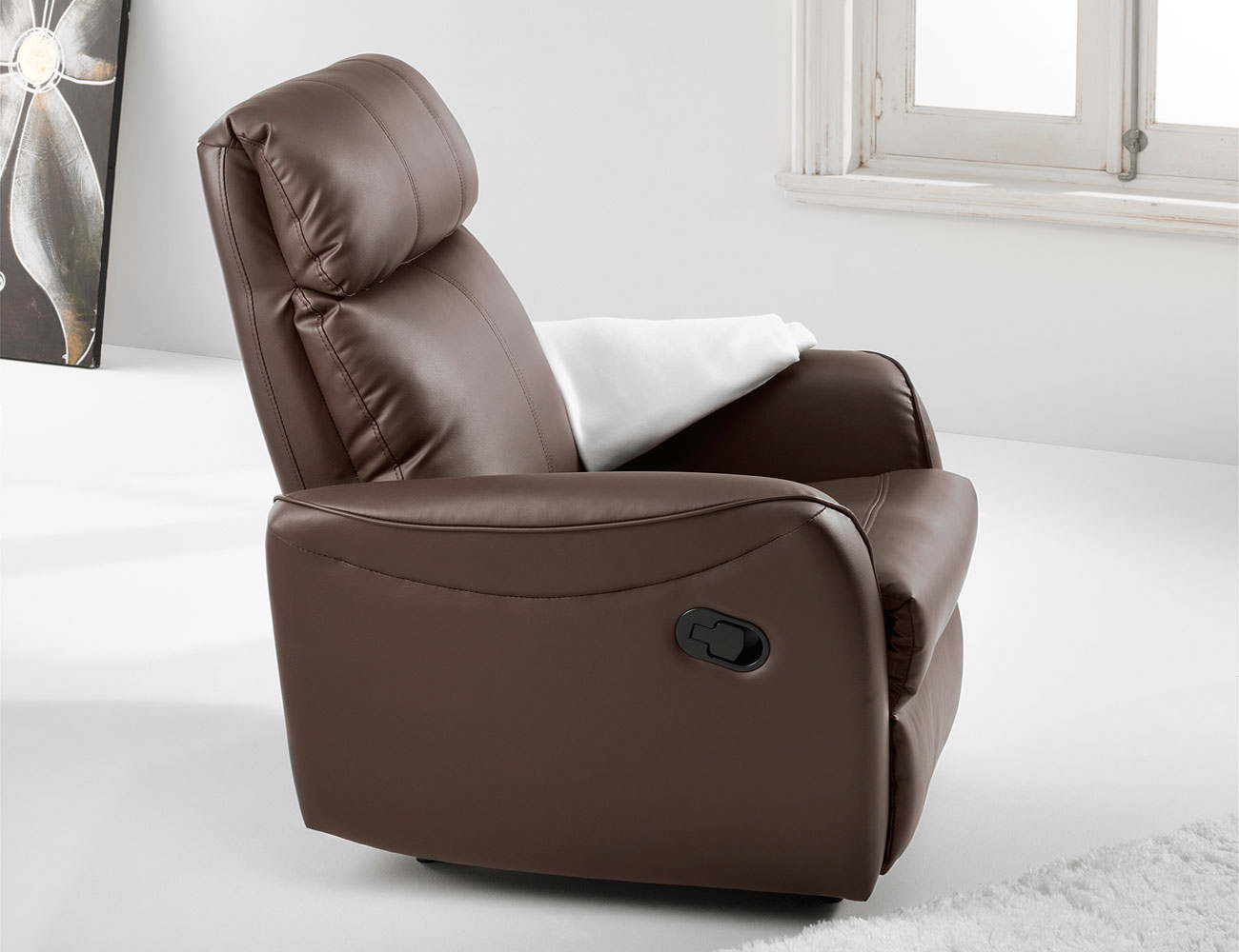 Sillon relax palanca simil piel chocolate2
