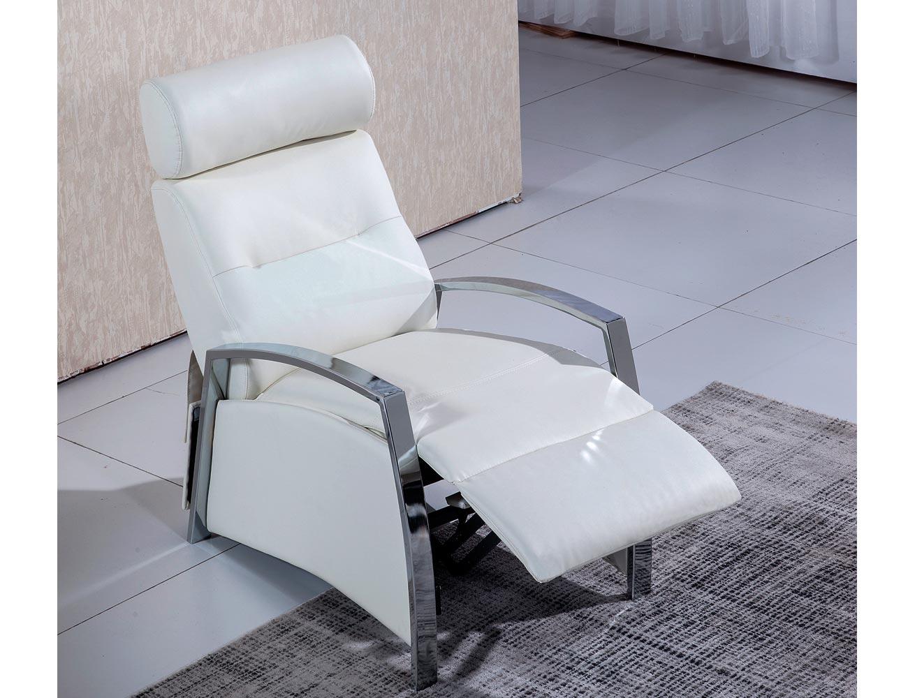 Sillon relax simil piel blanco 2