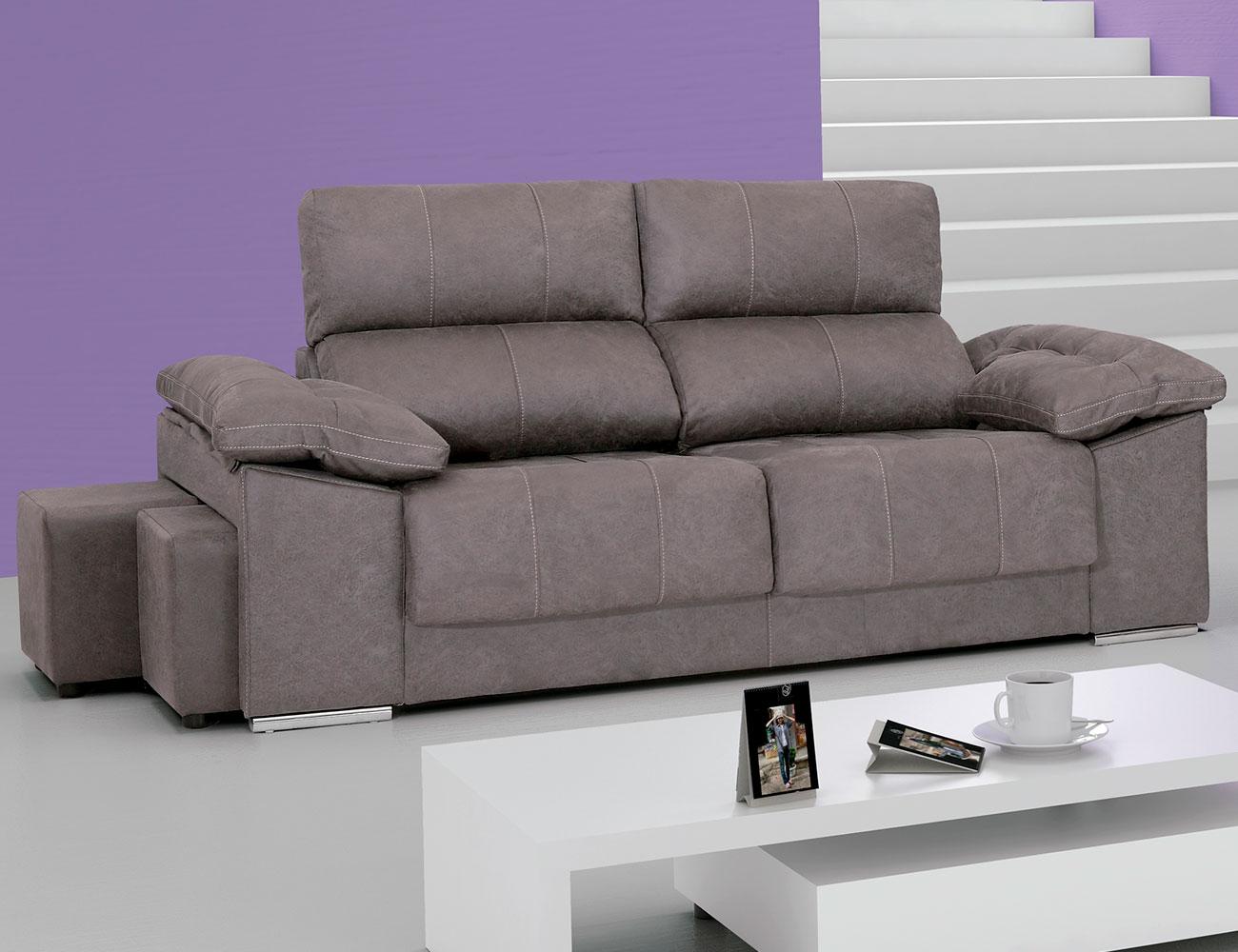 Sof con asientos extra bles y respaldos reclinables en for Sofa 4 plazas asientos deslizantes