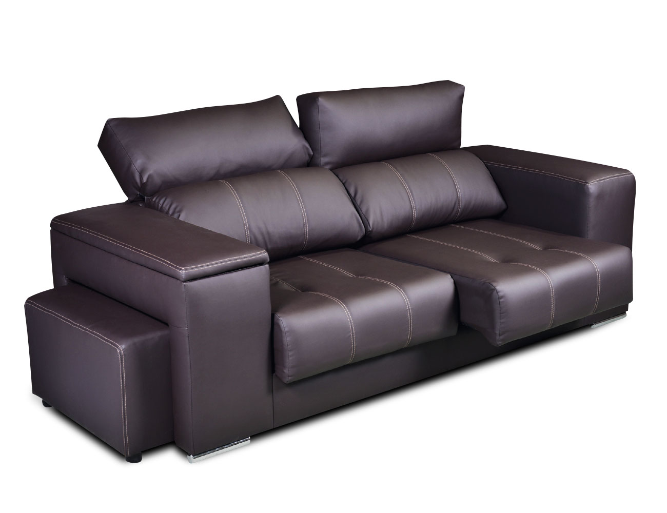 Sofa 3 plazas polipiel arcon taburete