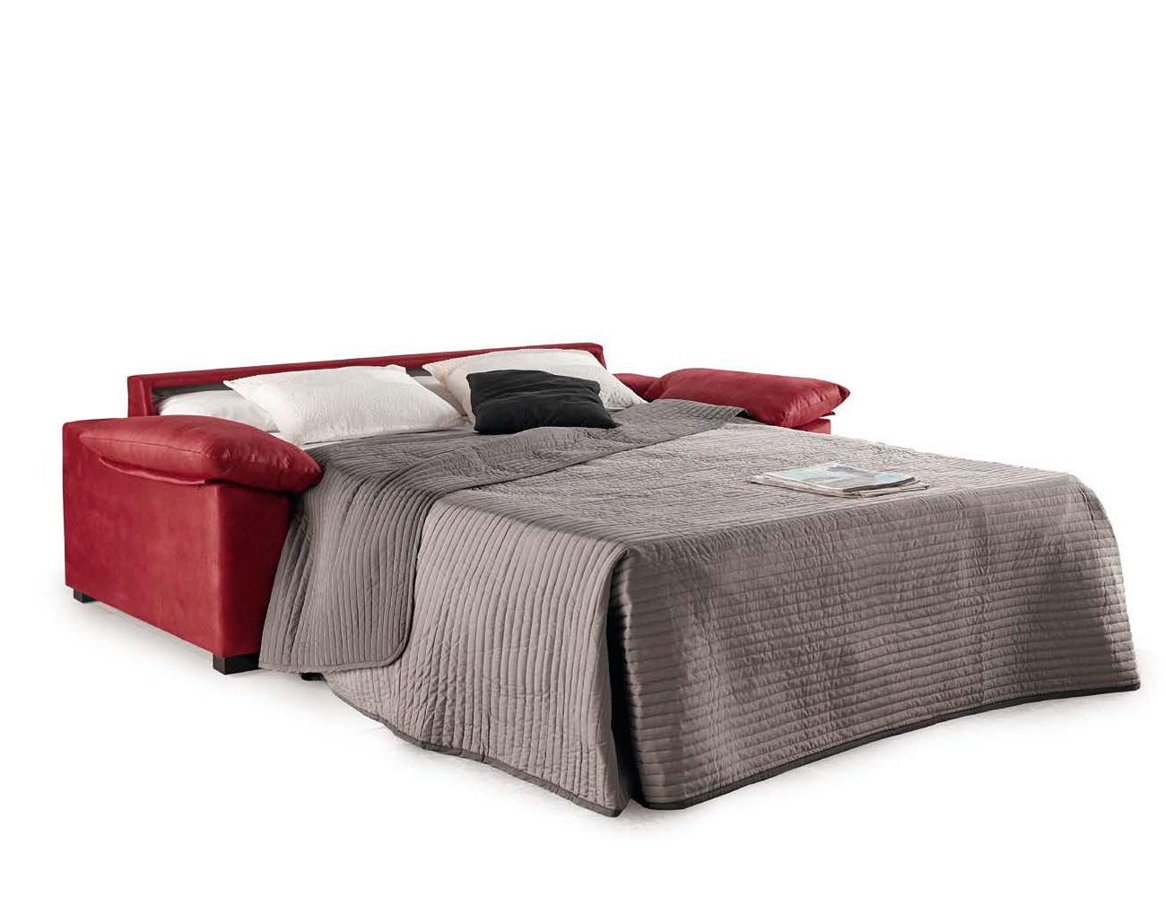 Sofa cama apertura italiano gran calidad leire rojo abierto