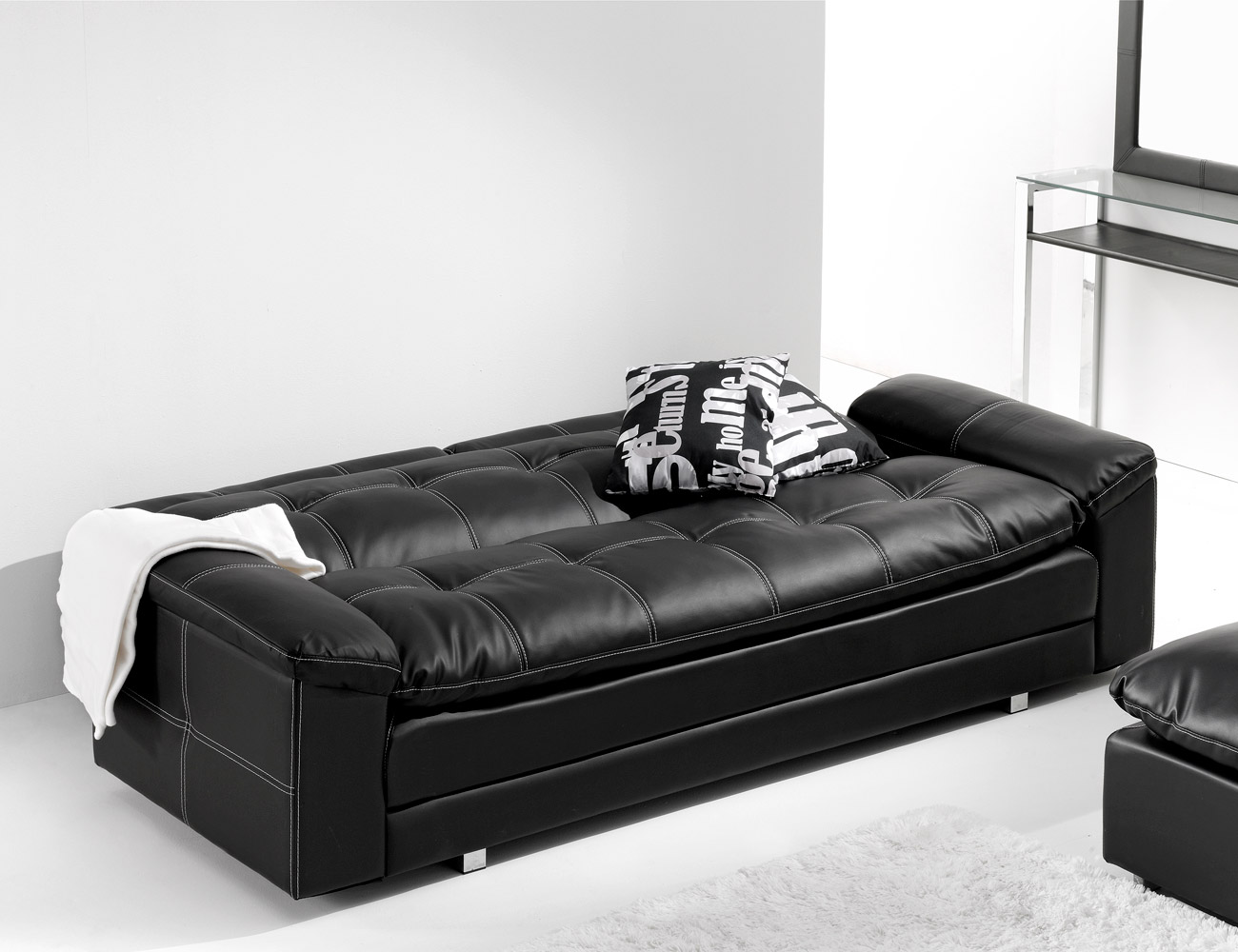 Sofa cama chaiselongue polipiel pouf reversible 3