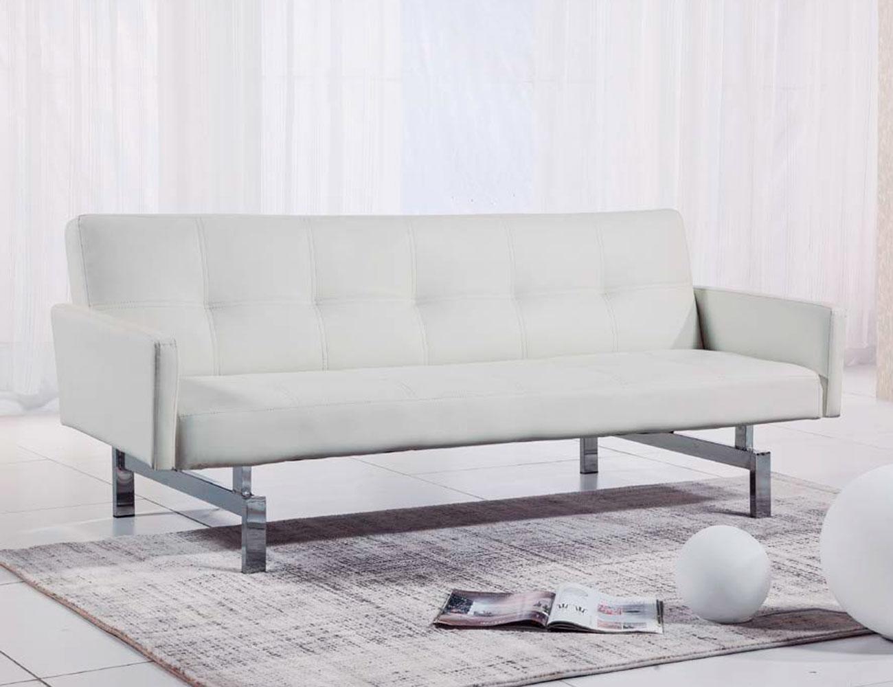 Sofa cama con brazos simil piel blanco