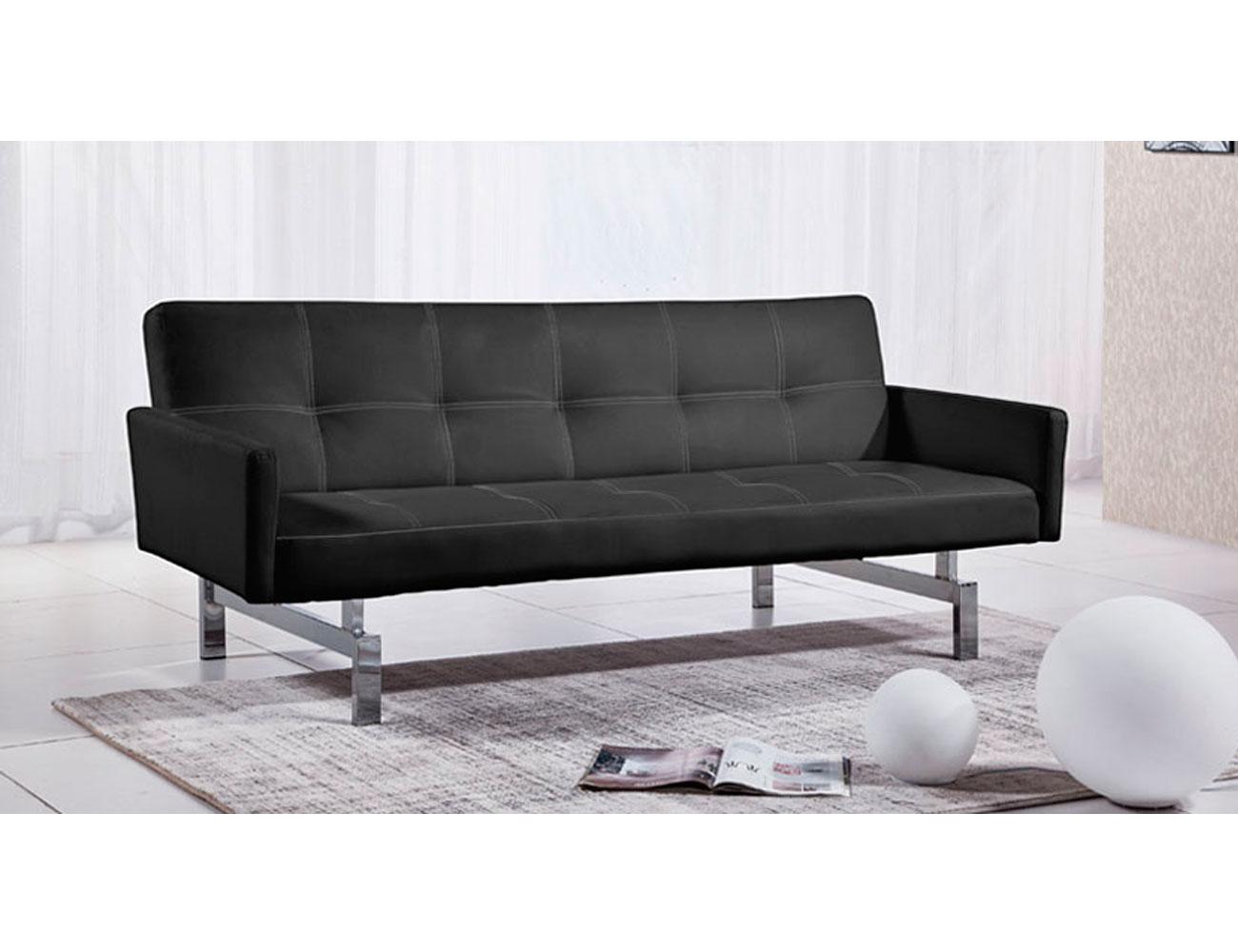 Sofa cama con brazos simil piel negro