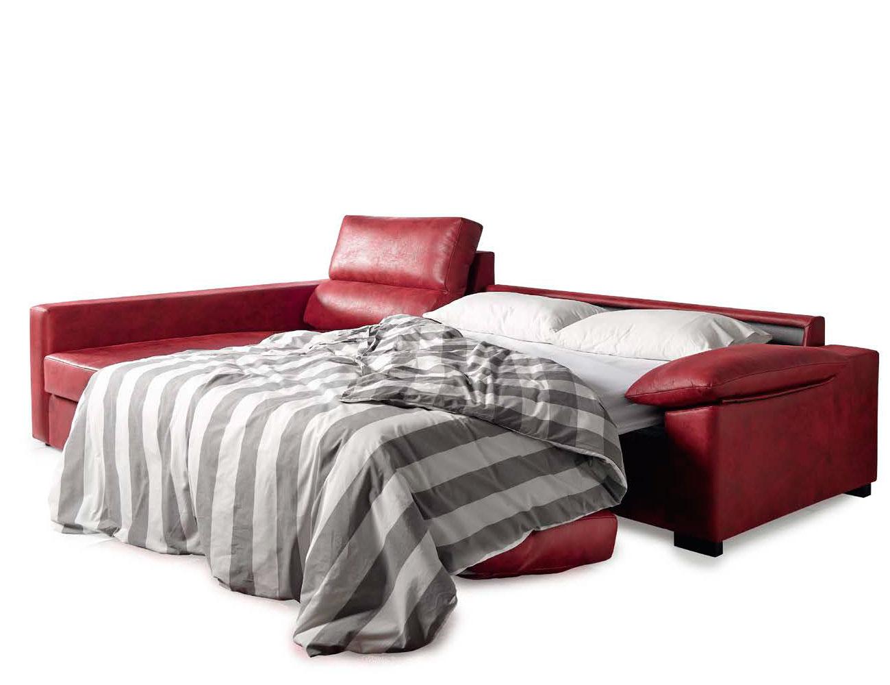 Sofa chaiselongue cama italiana leire rojo 2