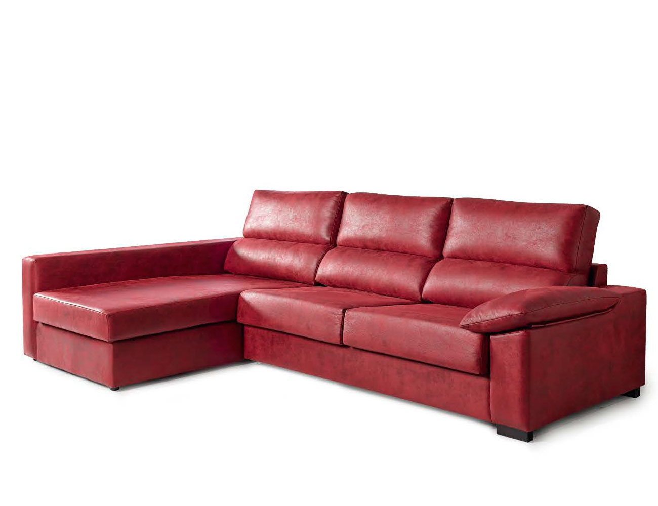 Sofa chaiselongue cama italiana leire rojo 3
