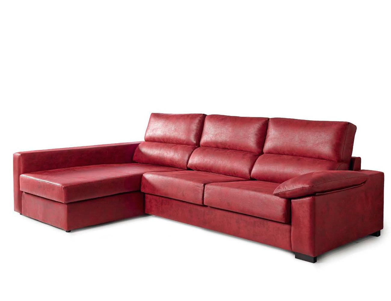 Sofa chaiselongue cama italiana leire rojo 3