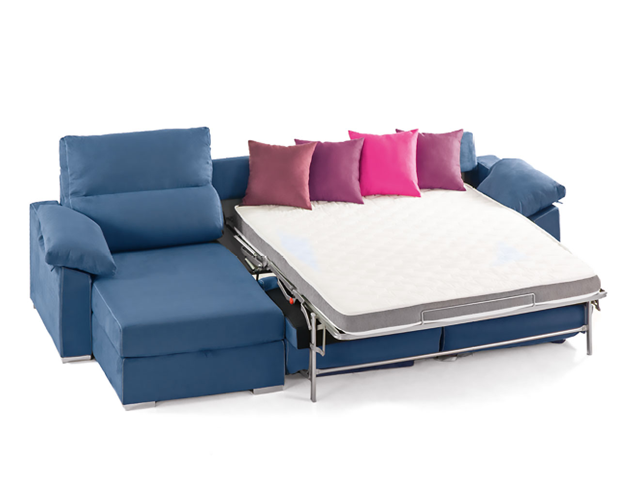 Sof cama con chaiselongue y sistema de apertura italiano for Muebles con sofa cama