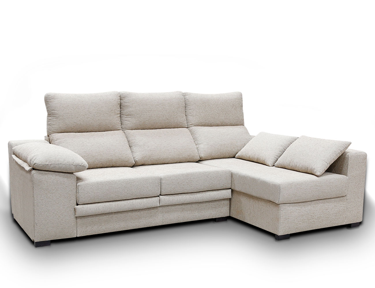 Sofa chaiselongue moderno cojin pardo 1