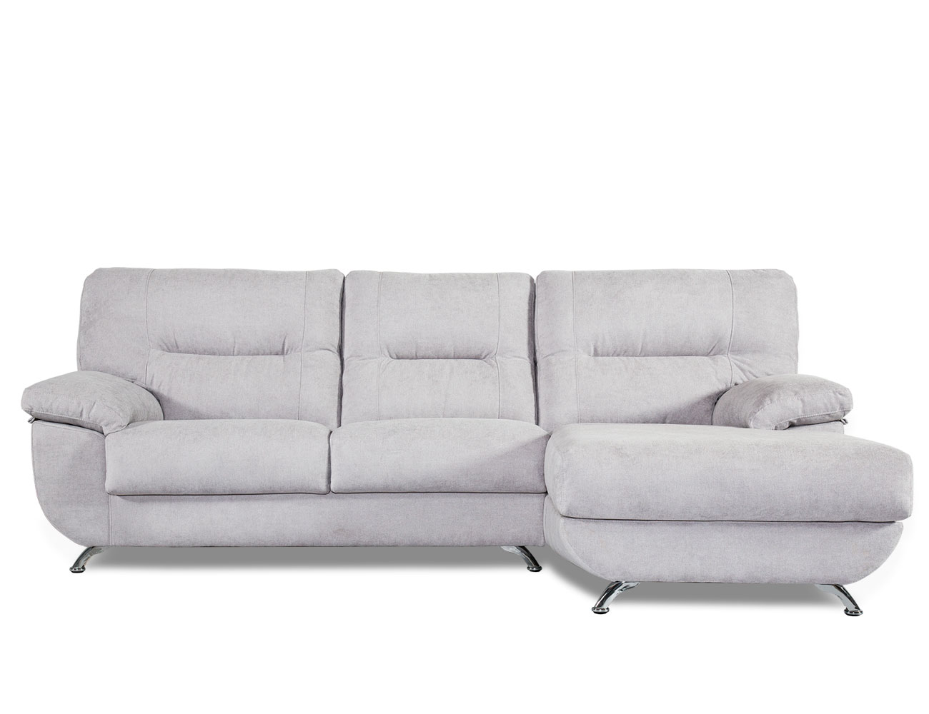 Sofa chaiselongue moderno patas cromadas forma