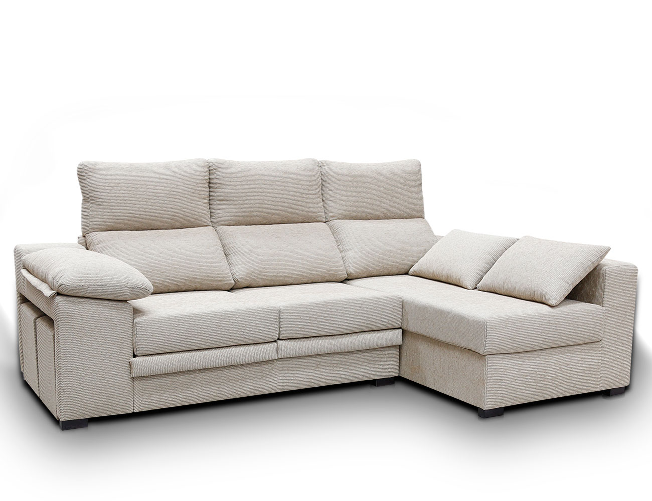 Sofa chaiselongue moderno puffs pardo 12