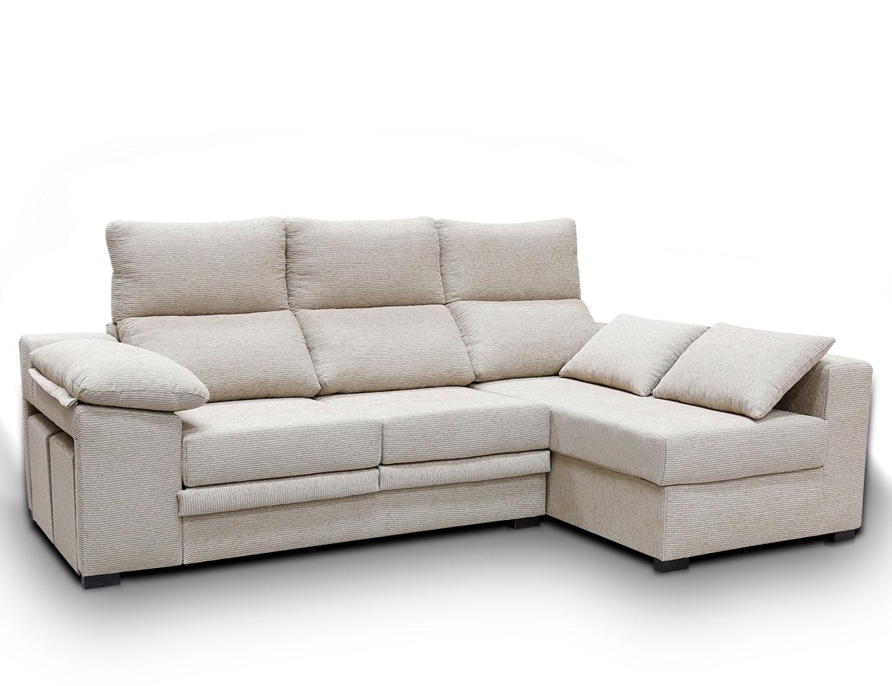 Sofa chaiselongue moderno puffs pardo 12
