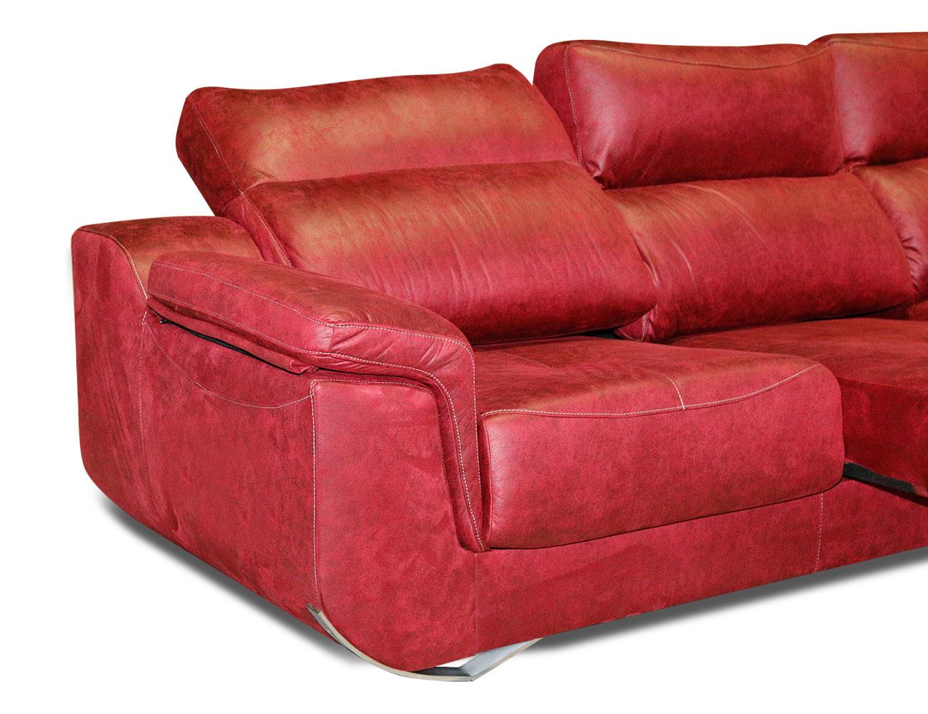 Sofa chaiselongue moderno tejido anti manchas rojo detalle