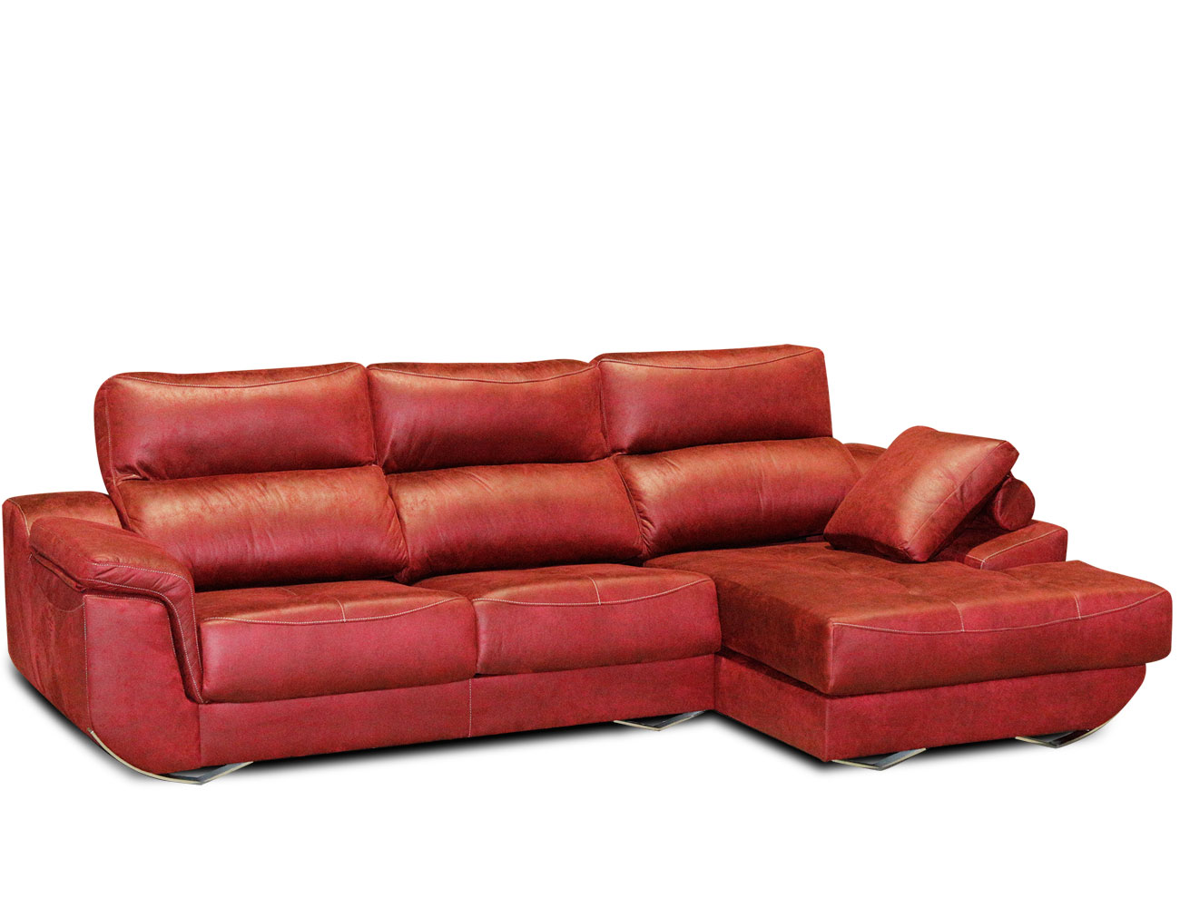 Sofa chaiselongue moderno tejido anti manchas rojo