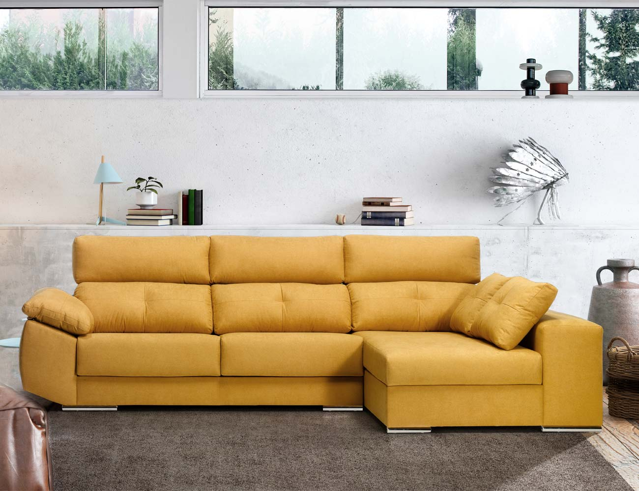 Sofa chaiselongue mostaza