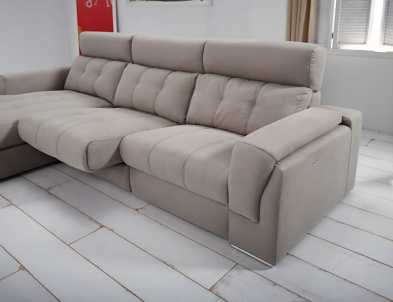 Sofa chaiselongue piel con arcon relax electrico 3