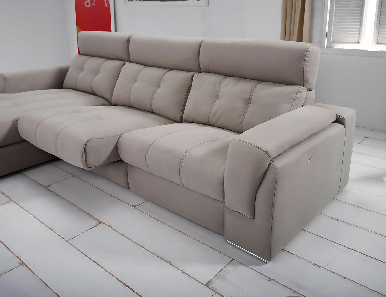 Sofa chaiselongue piel con arcon relax electrico 3