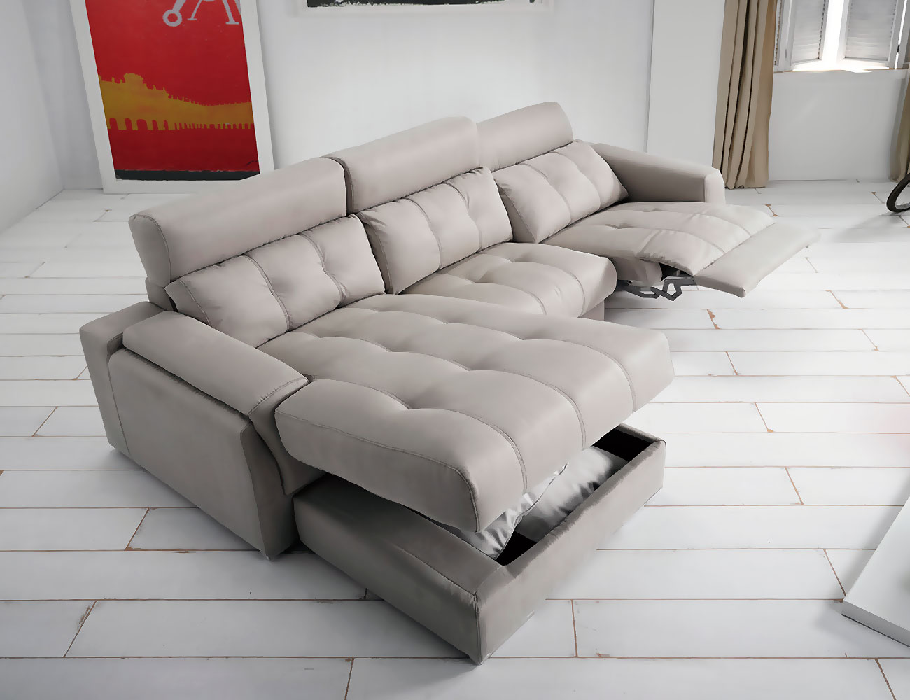 Sofa chaiselongue piel con arcon relax electrico