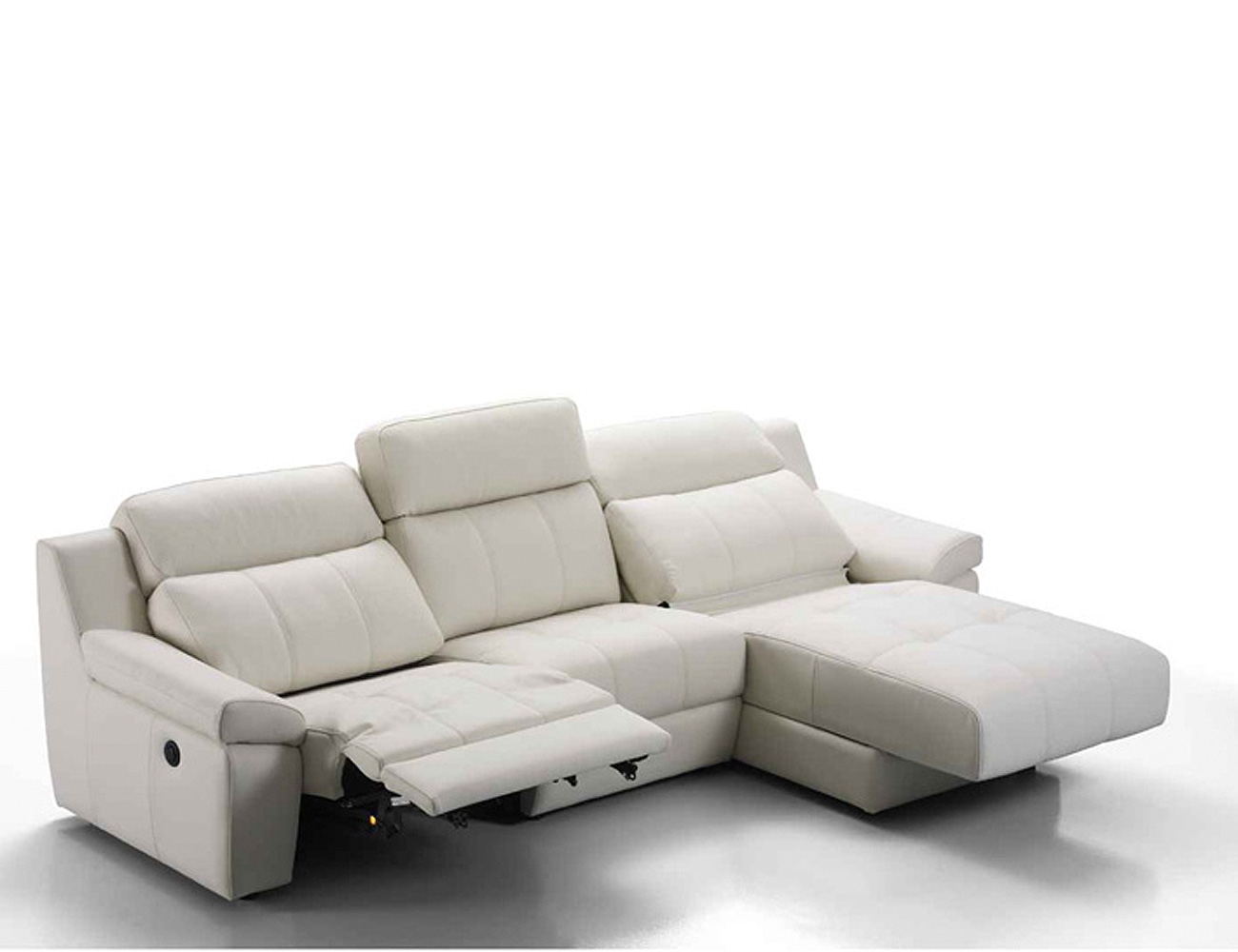 Sof chaiselongue en piel espesorada con relax el ctrico for Sofa piel chaise longue