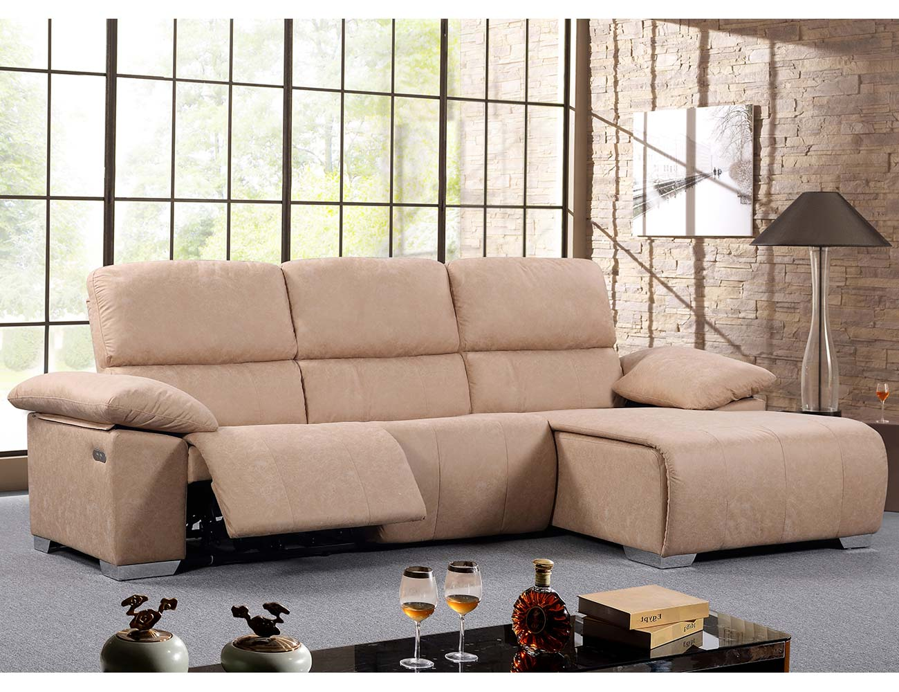 Sofa chaiselongue relax electrico beige