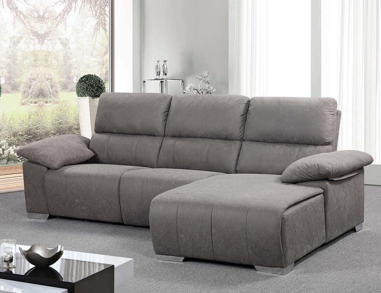 Sofa chaiselongue relax electrico gris marengo