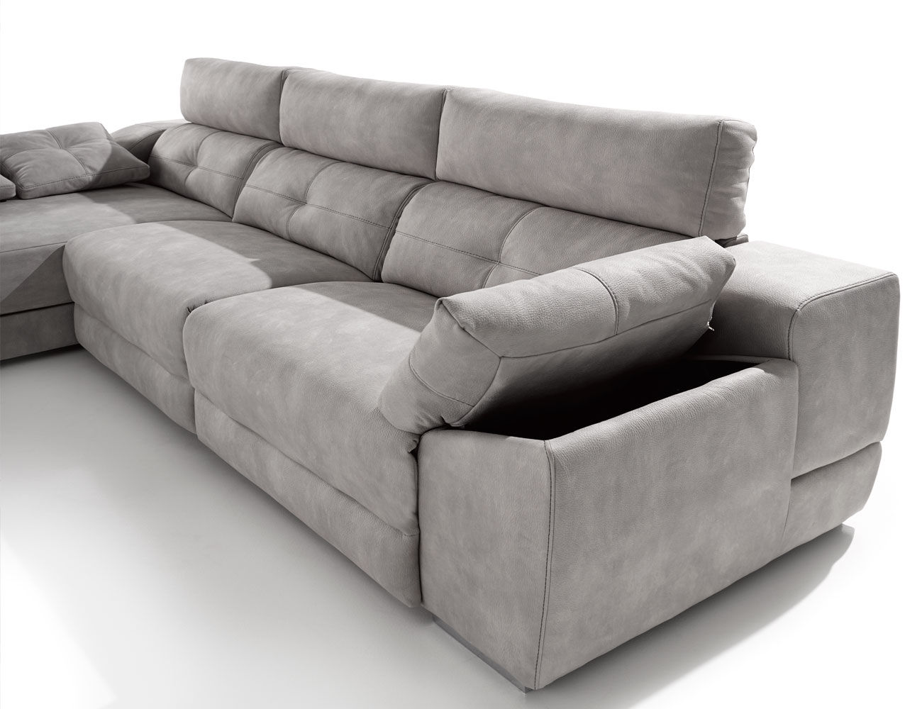 Sof 3 plazas chaiselongue de gama alta top deluxe con for Sofa piel chaise longue