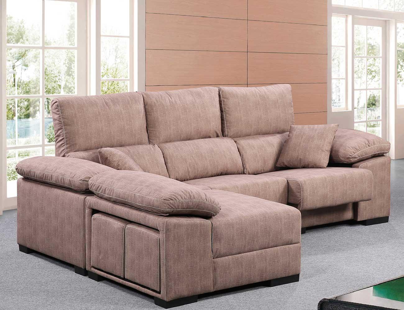 Sofa chaiselongue reversible 4 taburetes asientos extraible chocolate1