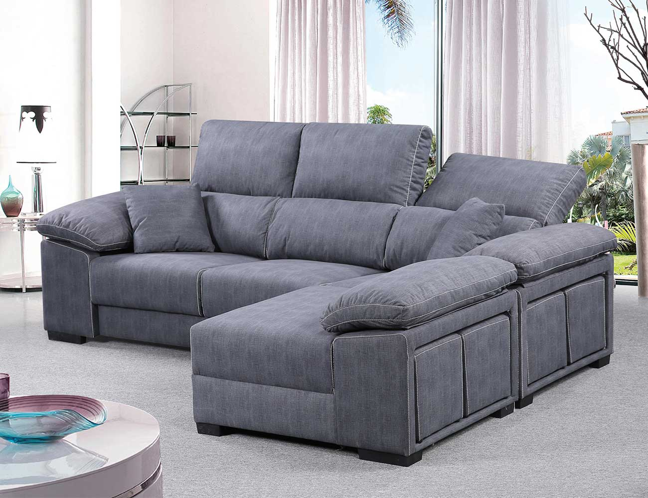 Sofa chaiselongue reversible 4 taburetes asientos extraible gris ceniza