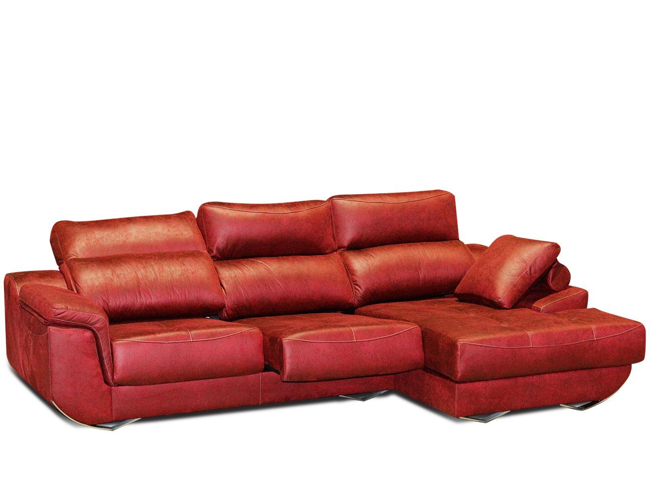 Sofa chaiselongue rojo granate moderno