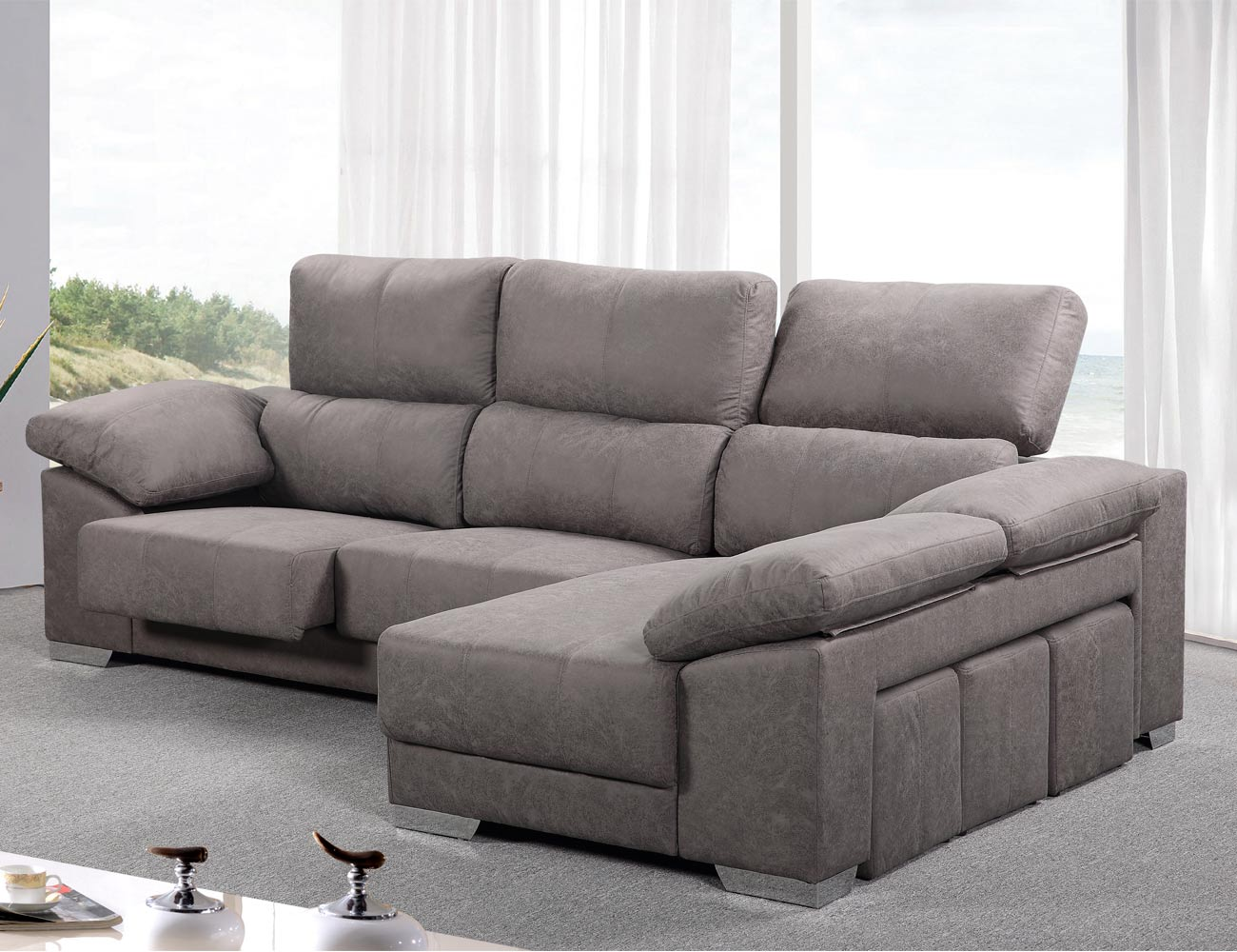 Sof chaiselongue reversible con asientos extra bles y - Cabezales de tela ...