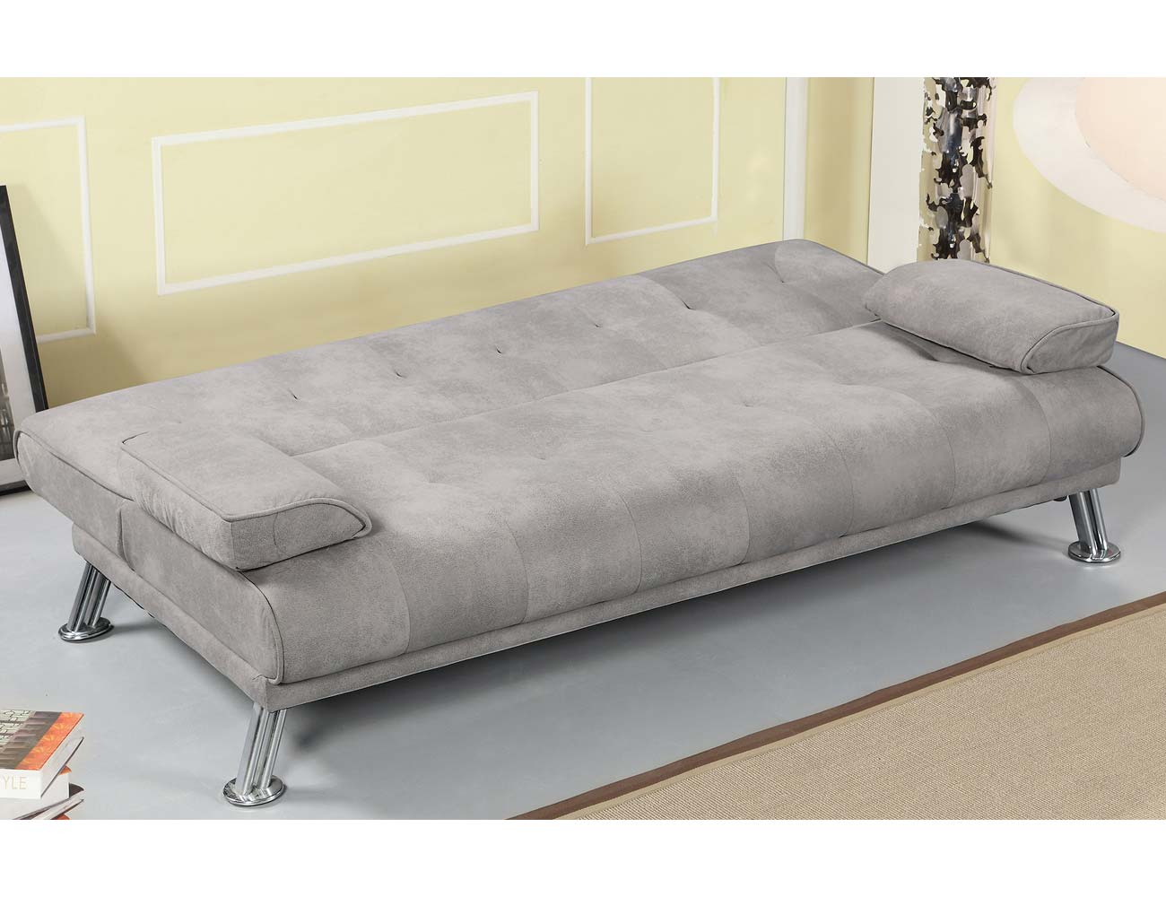 Sofa clic clac tapizado gris marengo patas cromadas abierto
