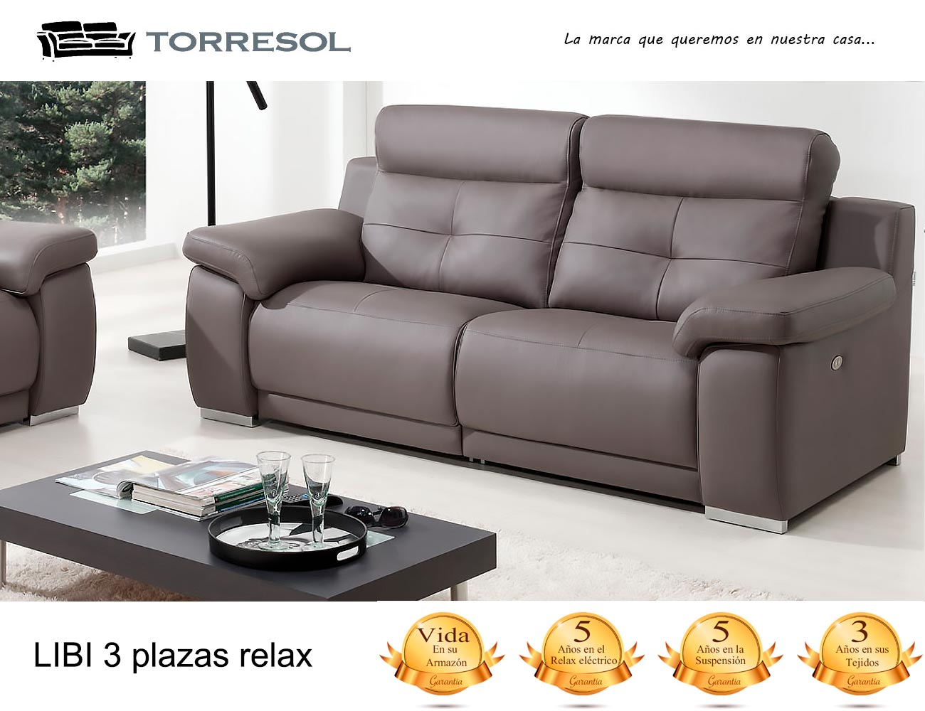 Sofa libi torresol en piel chocolate 31