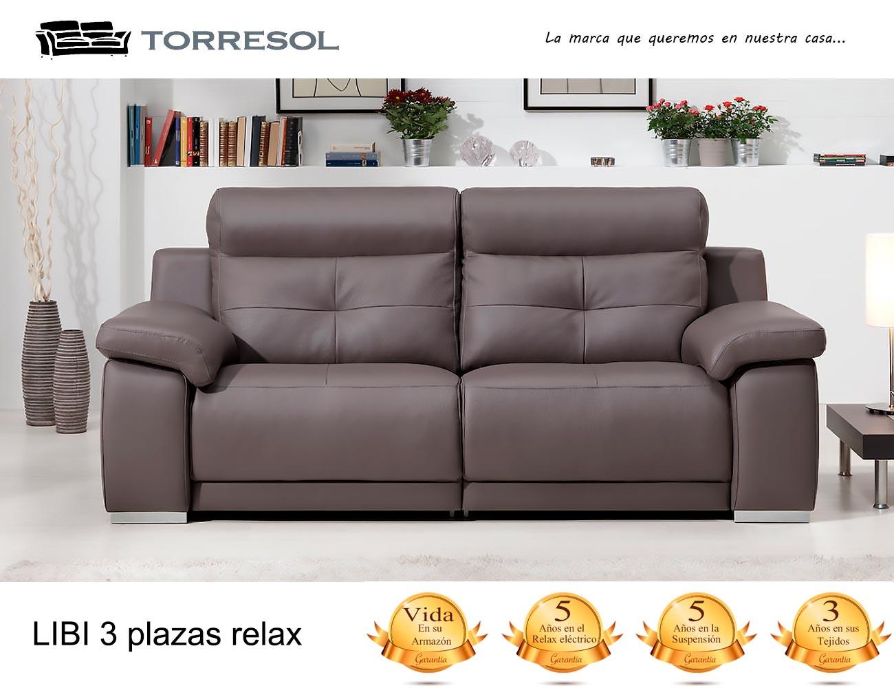 Sofa libi torresol en piel chocolate